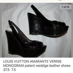 1fe522991f LV VERNIS Pantheon patent monogram wedge shoes